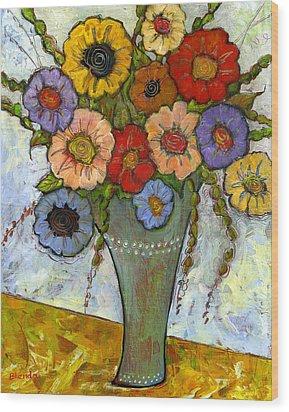 Bouquet Of Flowers Wood Print by Blenda Studio