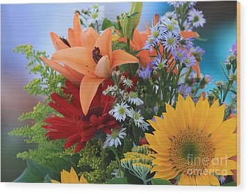 Wood Print featuring the photograph Bouquet Of Flowers by Geraldine DeBoer