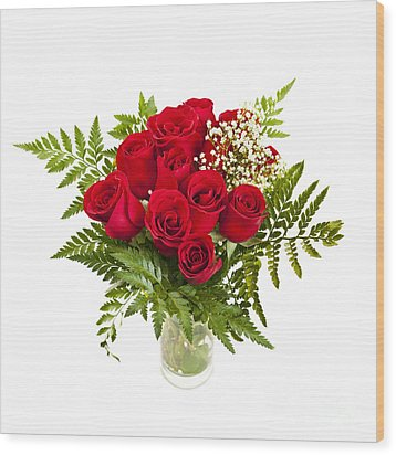 Bouquet Of Red Roses Wood Print by Elena Elisseeva