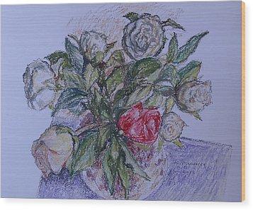 Bouquet Roses Creme Wood Print by Agnieszka Praxmayer