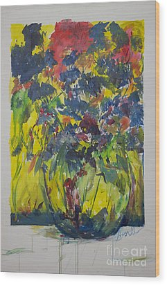 Wood Print featuring the painting Bouquet With Blue Flowers by Avonelle Kelsey