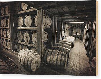 Bourbon Barrels Wood Print by Karen Varnas