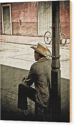 Wood Print featuring the photograph Bourbon Cowboy In New Orleans by Ray Devlin