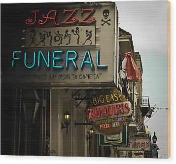 Wood Print featuring the photograph Bourbon Street Bar Signs In New Orleans by Ray Devlin