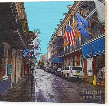 Bourbon Street Wood Print by Carey Chen