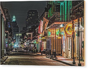 Bourbon Street Glow Wood Print by Andy Crawford