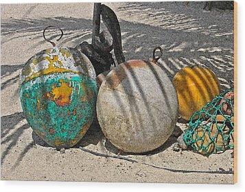 Bouys On The Beach Wood Print by Kurt Gustafson