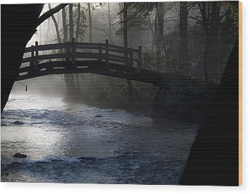 Bow Bridge At Valley Forge Wood Print by Bill Cannon