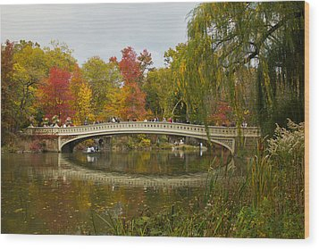 Wood Print featuring the photograph Bow Bridge Central Park Ny by Jose Oquendo