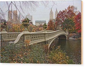 Bow Bridge In Central Park Wood Print by June Marie Sobrito