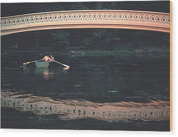 Bow Bridge Rowboat Central Park Wood Print by Tom Wurl