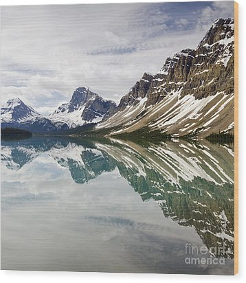 Bow Lake Wood Print by Dee Cresswell