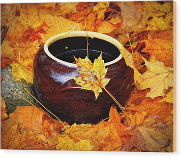 Wood Print featuring the photograph Bowl And Leaves by Rodney Lee Williams