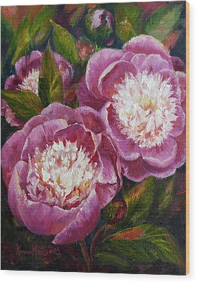 Bowl Of Beauty Peony Wood Print