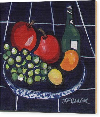 Wood Print featuring the painting Bowl Of Fruit 1 by Joyce Gebauer