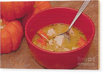 Bowl Of Homemade Chicken Noodle Soup Wood Print