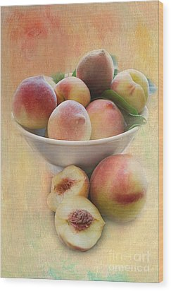 Bowl Of Peaches Wood Print