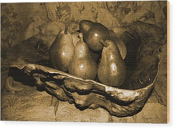 Wood Print featuring the photograph Bowl Of Pears - Sepia by Amanda Holmes Tzafrir