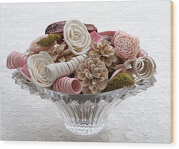 Bowl Of Potpourri On Lace Wood Print