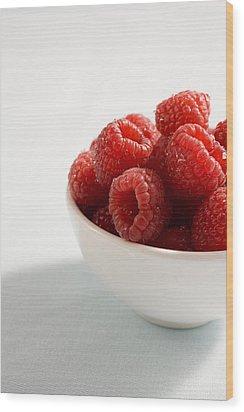 Bowl Of Raspberries Wood Print by Greg Huszar Photography