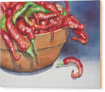 Bowl Of Red Hot Chili Peppers Wood Print by Lyn DeLano