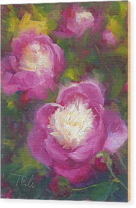 Bowls Of Beauty - Alaskan Peonies Wood Print by Talya Johnson