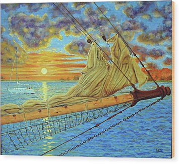Wood Print featuring the painting Bowsprit Over The Ashley River by Dwain Ray