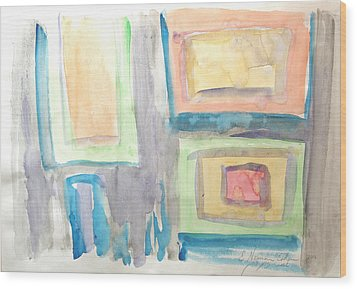 Wood Print featuring the painting Box In Box by Esther Newman-Cohen