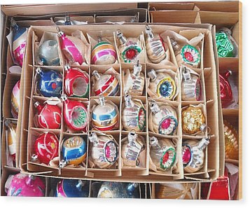 Box Of Vintage Ornaments Wood Print by Mark Barclay
