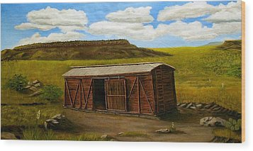 Wood Print featuring the painting Boxcar On The Plains by Sheri Keith