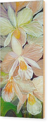 Boxed Orchids Detail Wood Print by Anna Skaradzinska