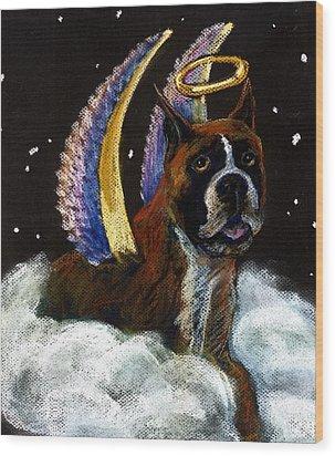 Boxer Angel Wood Print by Darlene Grubbs