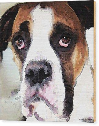 Boxer Art - Sad Eyes Wood Print by Sharon Cummings