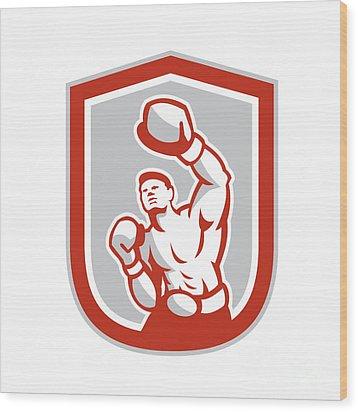 Boxer Boxing Punching Jabbing Circle Retro Wood Print by Aloysius Patrimonio