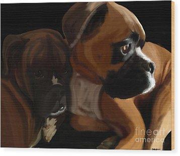 Boxer Brothers Wood Print by Christina Kulzer