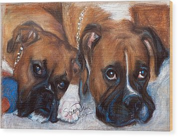 Boxer Buddies Wood Print