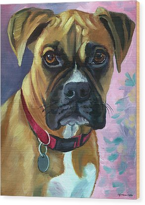 Boxer Dog Portrait Wood Print by Lyn Cook