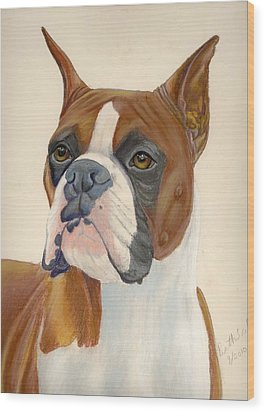 Boxer Dog Wood Print by Ruth Seal