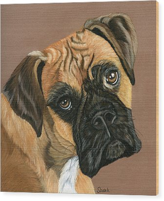 Boxer Dog Wood Print by Sarah Dowson