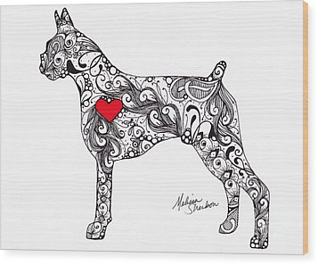 Wood Print featuring the drawing Boxer by Melissa Sherbon