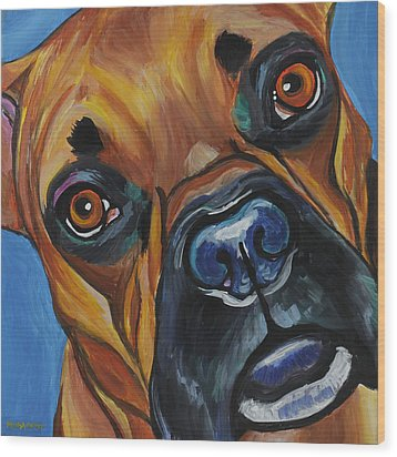 Boxer Wood Print by Melissa Smith