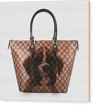 Boxer Pup Hand Bag Painting Wood Print by Marvin Blaine