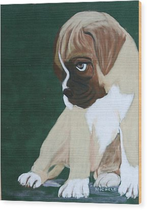 Boxer Pup Wood Print by Michele Turney