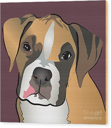 Boxer Puppy Pet Portrait  Wood Print by Robyn Saunders
