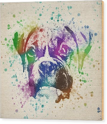 Boxer Splash Wood Print by Aged Pixel