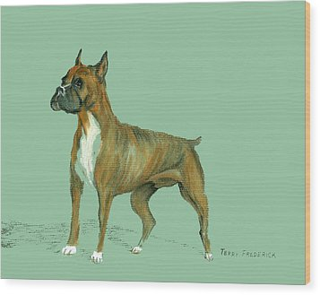Boxer Wood Print by Terry Frederick