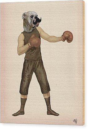 Boxing Bulldog Wood Print by Kelly McLaughlan