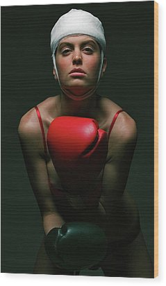 boxing Girl 2 Wood Print by Evgeniy Lankin