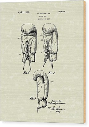 Boxing Glove 1925 Patent Art Wood Print by Prior Art Design