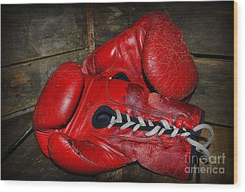 Boxing Gloves Wood Print by Paul Ward